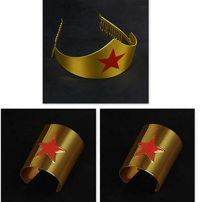 Metal Gold Cos Wonder Woman Adult Tiara Movie Crown Comic Costume Accessory Set