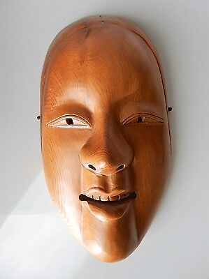 Antique Vintage Japanese wood carving Ko-Omote Noh mask of young woman
