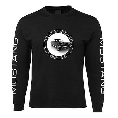 New Black Ford Mustang Long Sleeve T Shirt 100% Cotton Size S -3XL