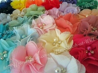 Chiffon Flower with Pearls & Rhinestones DIY Craft Applique Embellishment Hair