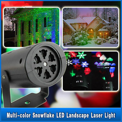 Moving Sparkling LED Snowflake Landscape Laser Projector wall Lamp Xmas Light NP