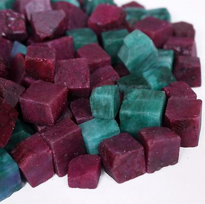 221.003 ct Natural colomnian Emerald & African Ruby Rough Cube Gemstone Lot