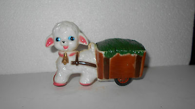 Vintage New in the bag with header Easter lamb pulling a wagon friction toy