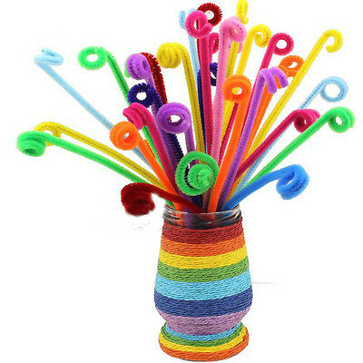 Striped Chenille Stems Fluffy Pipe Cleaners Multiple Colours Pack of 100Pcs