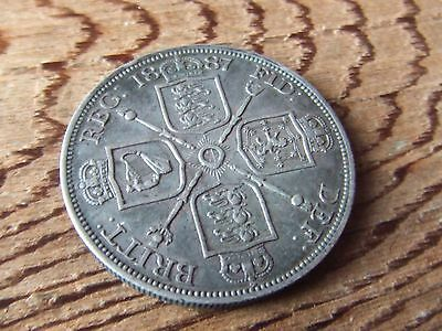 Queen Victoria.   1887, Silver Double Florin..   Nice Condition.