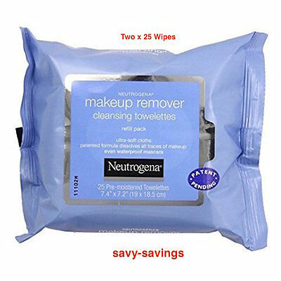 Neutrogena Make-up Remover Cleansing Towelettes Two Packs of  25  Wipes
