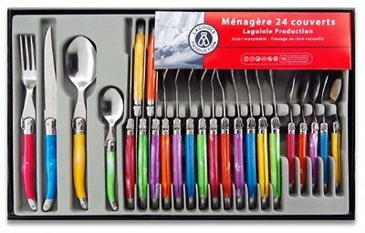 Laguiole Production 438580 Stainless Steel Cutlery Set Of 24 Multi Colour Handle