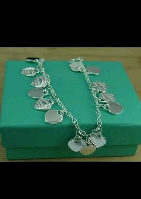 uk 925 sterling silver 15 heart chain anklet bracelet lady friend christmas gift