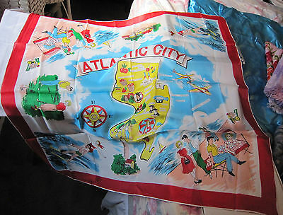 """Unused Atlantic City and New Jersey Map 31"""" Square Scarf 1960's Colors Graphics"""
