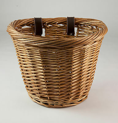 Wicker Bicycle Bike Basket with Leather Strap Fastenings - Small - Free P & P