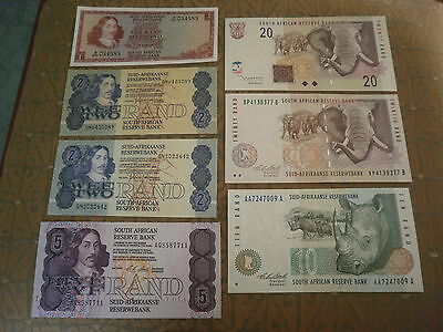 7 x Old South Africa Banknotes (6 are UNCIRCULATED)