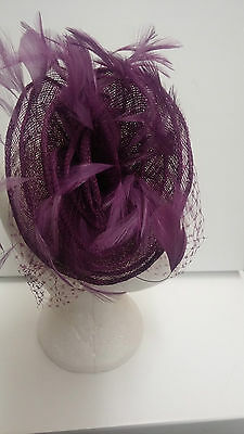 Condici Fascinator Purple Feather Netted Wedding Races BRAND NEW RRP £135
