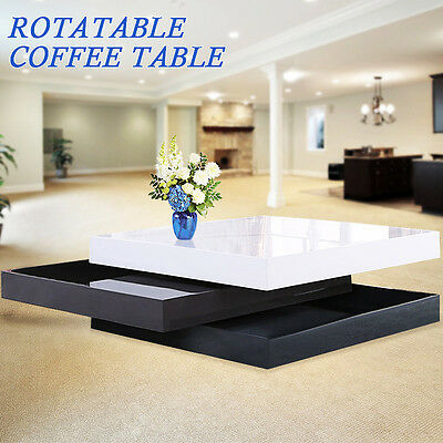 High Gloss White & Black Square Storage Rotatable Coffee Table With 3 Layers