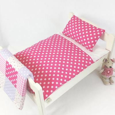Pink Dotty ~ Dolls Pram Cot Bedding Set ~ Duvet & Pillow Set ~ Baby Annabell