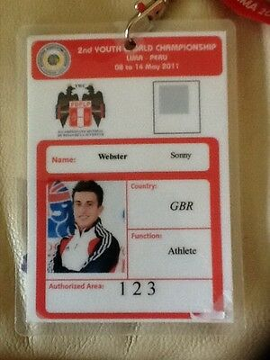 Sonny Webster's ID Access Pass SIGNED Weightlifting World Champs 2011 TEAM GB