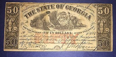 $50 Georgia Obsolete Note 1864, nice condition. From US Treasury Collection