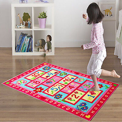 Pink Hopscotch Kids Soft Rugs Bedroom Girls Boys Playroom Carpet Nursery Carpet