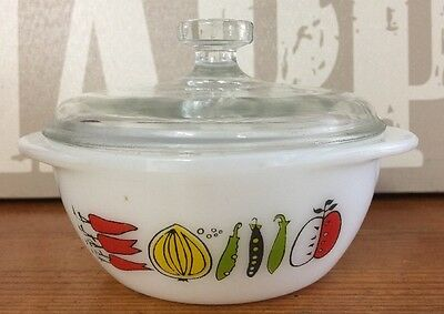 Vintage Pyrex Glass Fiesta Twin-Handled Sugar Bowl With Lid