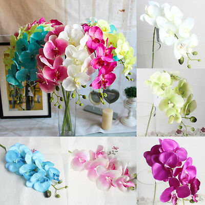 Artificial Silk Flower Butterfly Orchid Bouquet Phalaenopsis Wedding Home Decor