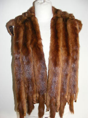 Vintage 1930s real fur collar wrap stole 6 full pelts auburn red brown vgc
