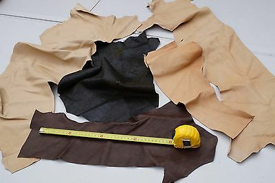 Earth tones Lambskin large scrap pieces/off-cuts 0.4 KG Soft garment leather