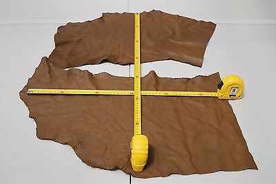 x2 Brown Elmo upholstery cowhide pieces Grainy Soft Cow leather remnants