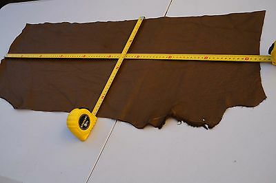 Brown Elmo upholstery cowhide piece/off-cut 90 x 30cm Grainy Cow leather