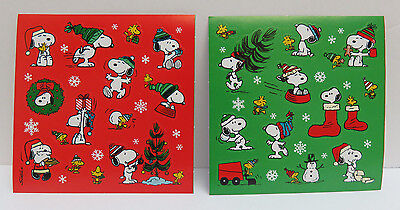 PEANUTS Stickers Christmas Cartoon Snow - 2 sheets - 1 of each design - NEW!