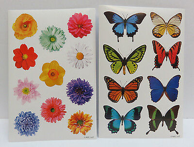 Flowers and Butterflies Stickers 2 sheets - 1 of each designs - NEW!
