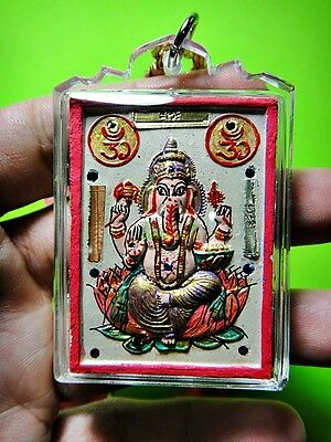 8964-Thai Amulet Pikanet Holy Elephant Successful Deity God Colored Lp Hong Old