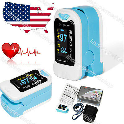 US Finger Fingertip Blood Oxygen Meter SPO2 LED Pulse Heart Rate 2Battery CONTEC