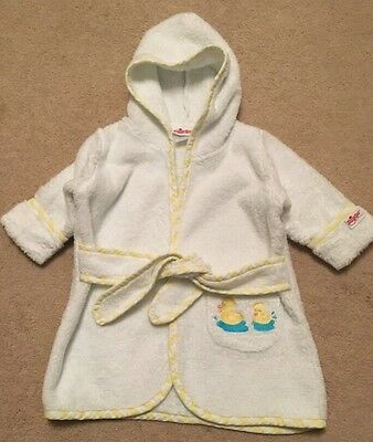 Sassy Spa Baby Bathrobe White With Ducks