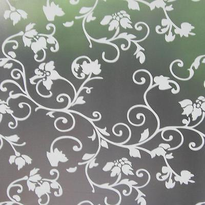 Privacy Window Film, Frosted Flower Design, Self Adhesive, Window Cover, floral