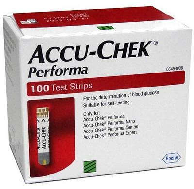 100 Test Strips For ACCU CHEK PERFORMA Sugar Blood Glucometer & Nano Meter