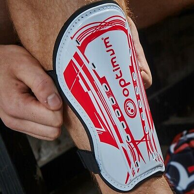 Optimum Sports Velocidade Shinguard Protection Rugby Football Soccer - White/Red