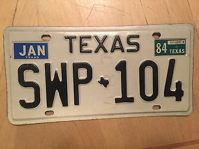 "Texas 1984  Passenger Auto  License Plate "" Swp 104 "" Tx 84"