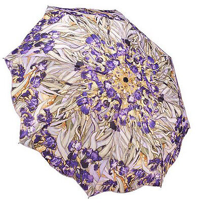 "Galleria Ladies Art Print Auto Folding Boxed Umbrella  Van Gogh ""Irises"""