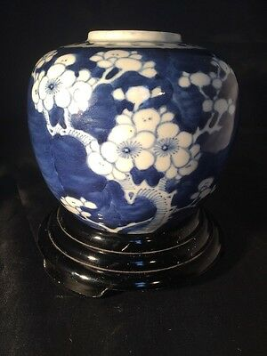 Vintage Prunus Blue And White Ginger Jar with lid  Double Circle Marks Stand