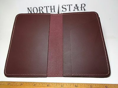 North Star Burgundy Top Stub Leather Checkbook Cover-Fact.Second-Made In USA#131