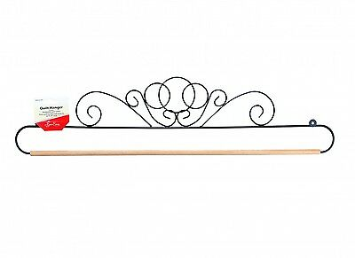 SCROLL DESIGN QUILT HANGER HOLDER, 24 Inch Black With Dowel Rod From Tacony NEW
