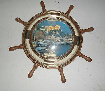 "Vintage Ships Wheel Wall Decoration / Souvenir From Capri 8"" In Dia.  Maritime"