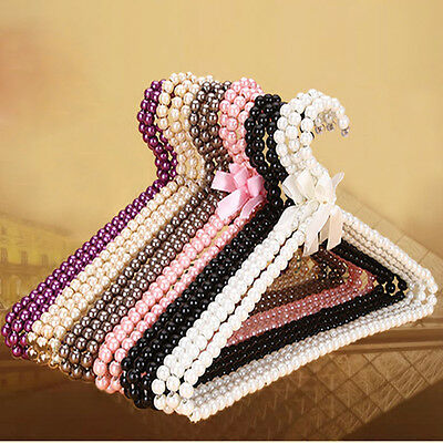Elegant 4 Colors Plastic Pearl Bow Clothes Hangers Hook With Bow Anti-skid Decor