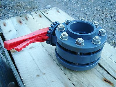 """PIMTAS DN80 3"""" BUTTERFLY Valve with flanged u-PVC for water tanks, ponds, etc."""
