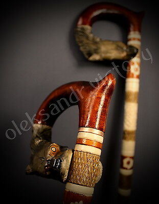 Wild Wolf Hand Carvin Canes Walking Sticks Wooden Unique Handmade Cane Vintage