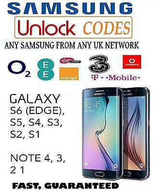 Samsung Galaxy S7 Edge S6 Edge Plus S5 S4 Note Unlock Code O2 Ee Three Vodafone