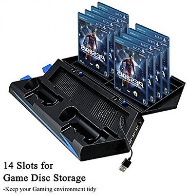 PS4 Stand, PS4 Vertical Stand Cooling Fan Dual Charging Station for Playstation
