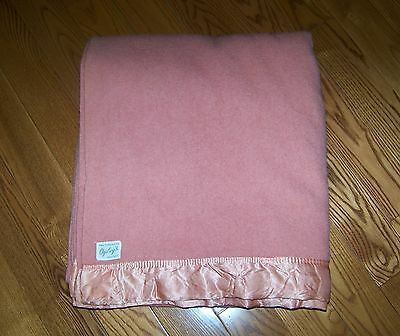 Vintage OGILVY'S Montreal Pure 100% Wool Pink Blanket Made in England 70X82 VGC