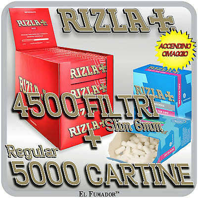 5000 Cartine RIZLA ROSSE CORTE RED + 4500 Filtri SLIM 6mm + ACCENDINO OMAGGIO