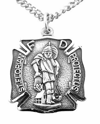 St. Florian Sterling Silver Medal with Chain (SS994) NEW in Jewelry Box