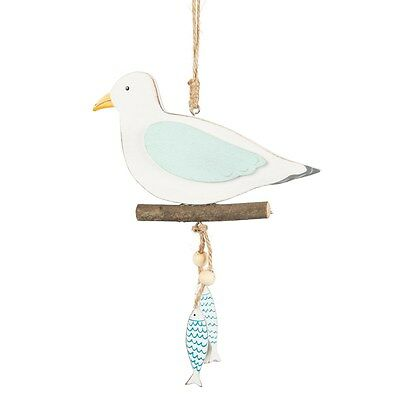 Wooden Seagull with Fish Decoration Nautical